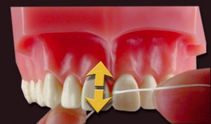 Zähne putzen mit Zahnseide